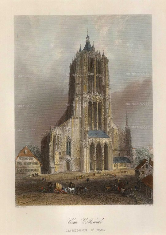 Bartlett: Ulm. 1845. A hand-coloured original antique steel-engraving. 5 x 7 inches. GERp1260]