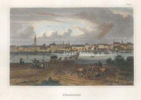 Meyer: Dusseldorf. 1837. A hand-coloured original antique steel-engraving. 6 x 4 inches. [GERp1265]