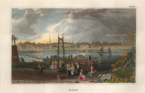 Meyer: Bonn. 1837. A hand-coloured original antique steel-engraving. 6 x 4 inches. [GERp1268]