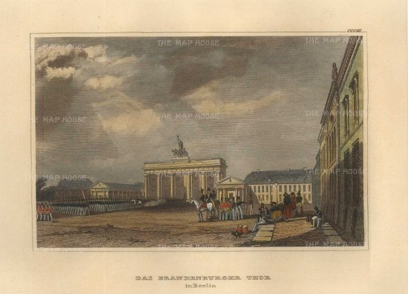 "Meyer: Brandenburg Gate, Berlin. 1840. A hand coloured original antique steel engraving. 6"" x 4"". [GERp1270]"