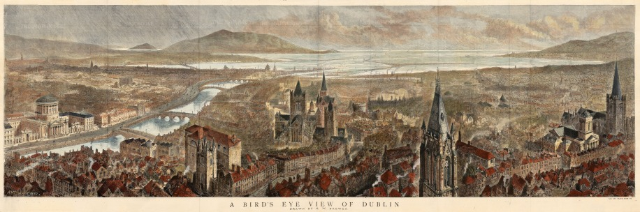 "The Graphic Magazine, 'Dublin, a Bird's Eye View of the City', c.1890. An original coloured wood-engraving. 16"" x 46"". £POA."