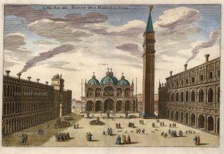 """Merian: Venice. c1640. A hand coloured original antique copper engraving. 13"""" x 9"""". [ITp1704]"""
