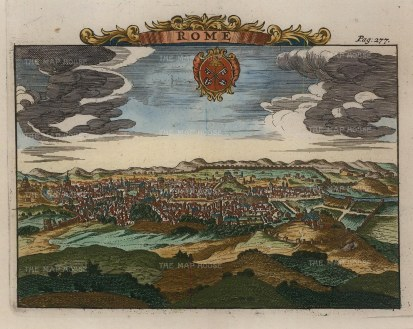 Van der Aa: Rome, 1727. Hand-coloured antique original copper engraving. 7 x 5 inches. [ITp1871]