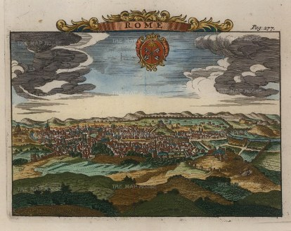 Panoramic view of the City with cartouche of the Papal insignia.