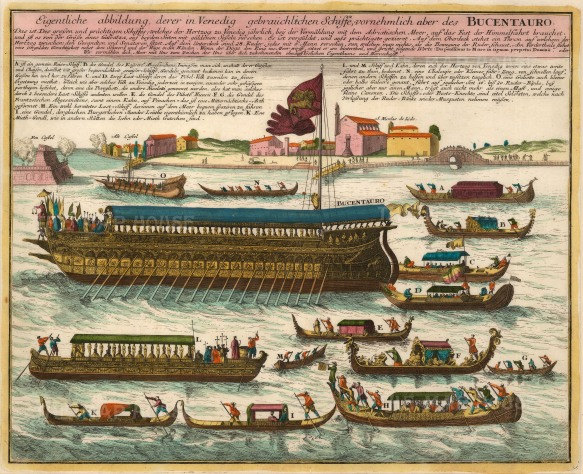 "Weigel: The Bucentauro, Venice. c1720. A hand coloured original antique copper engraving. 16"" x 13"". [ITp2038]"