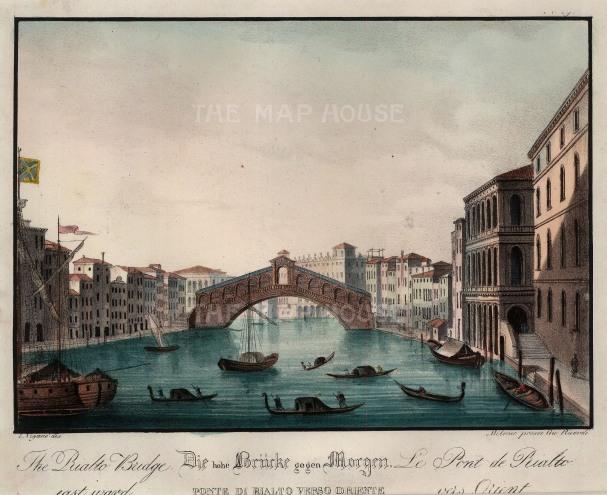 "Vigano: Rialto Bridge, Venice. c1850. A hand coloured original antique lithograph. 9"" x 8"". [ITp2042]"