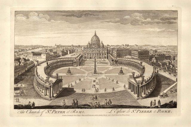 "Sayer: Vatican City, Rome. 1774. An original antique copper engraving. 18"" x 12"". [ITp2130]"