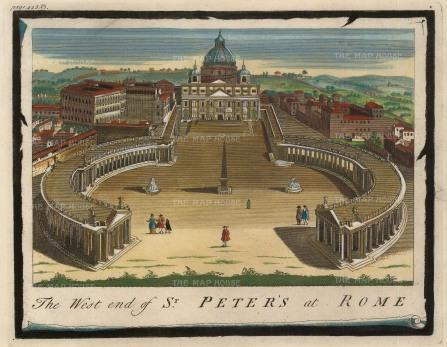 "Moll: Vatican City, Rome. 1745. A hand coloured original antique copper engraving. 10"" x 8"". [ITp2140]"