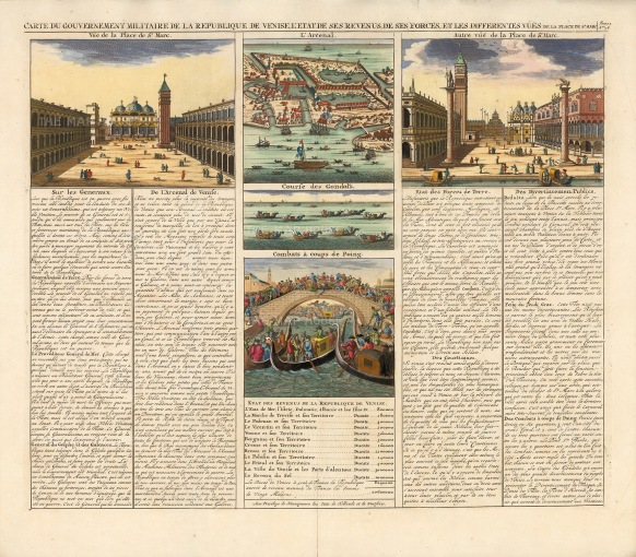 Chatelain: Venice, 1719. Hand coloured antique copper engraving. 18 x 16 inches. [ITp2177]