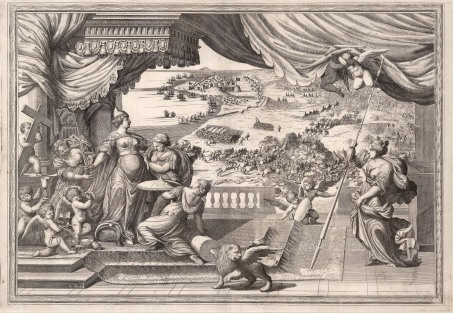 Allegorical Battle Scene: The Dogressa, who personifies Athena, being armed by maidens and attended by the Venetian Lion whilst an epic battle scene unfolds with the Ottomans.