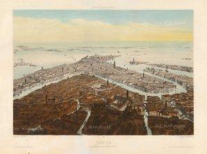 """Lemercier: Venice. 1850. A hand coloured original antique lithograph. 18"""" x 13"""". [ITp2202]"""