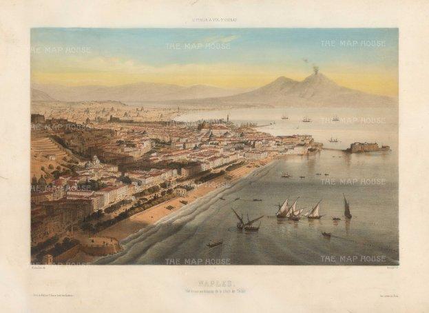 """Lemercier: Naples. 1850. A hand coloured original antique lithograph. 18"""" x 13"""". [ITp2203]"""