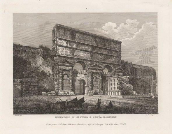 Cottafavi: Rome. c. 1843. Antique etching. 11 x 8 inches. [ITp2206]