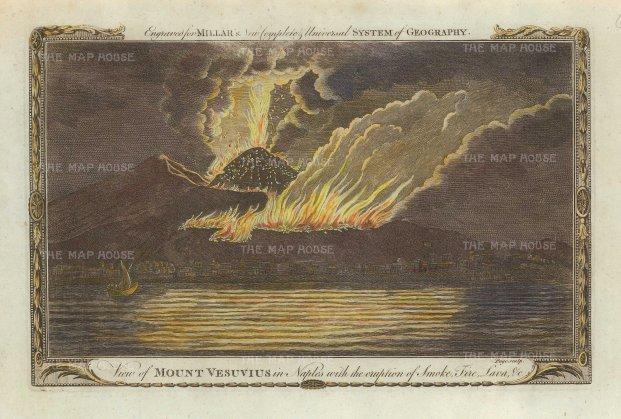 Millar: Mount Vesuvius, Naples., 1770. Hand-coloured copper engraving. 7 x 11 inches. [ITp2210]