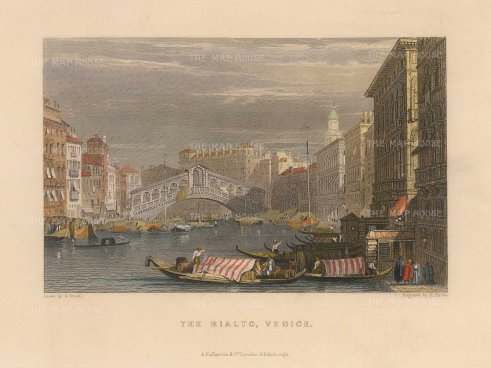 Fullarton: Venice, 1833. Hand-coloured antique original steel-engraving. 6 x 5 inches. [ITp2224]