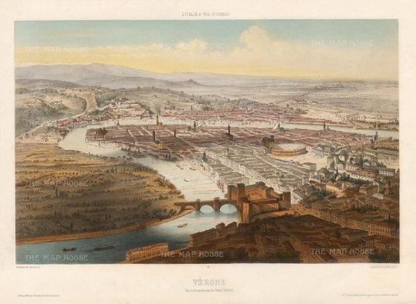 Lemercier: Verona, 1850. Hand-coloured antique original lithograph. 13 x 18 inches. [ITp2226]