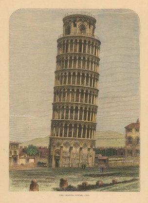 Reclus: Pisa, 1894. Hand-coloured antique original wood-engraving. 7 x 10 inches. [ITp2228]