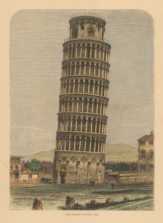 "Reclus: Pisa. 1894. A hand coloured original antique wood engraving. 7"" x 10"". [ITp2228]"
