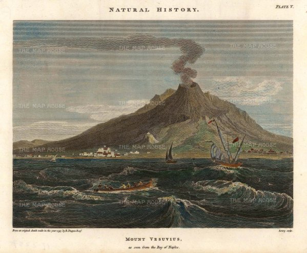 "Duppa: Mount Vesuvius, Naples. 1797. A hand coloured original antique copper engraving. 9"" x 7"". [ITp2237]"