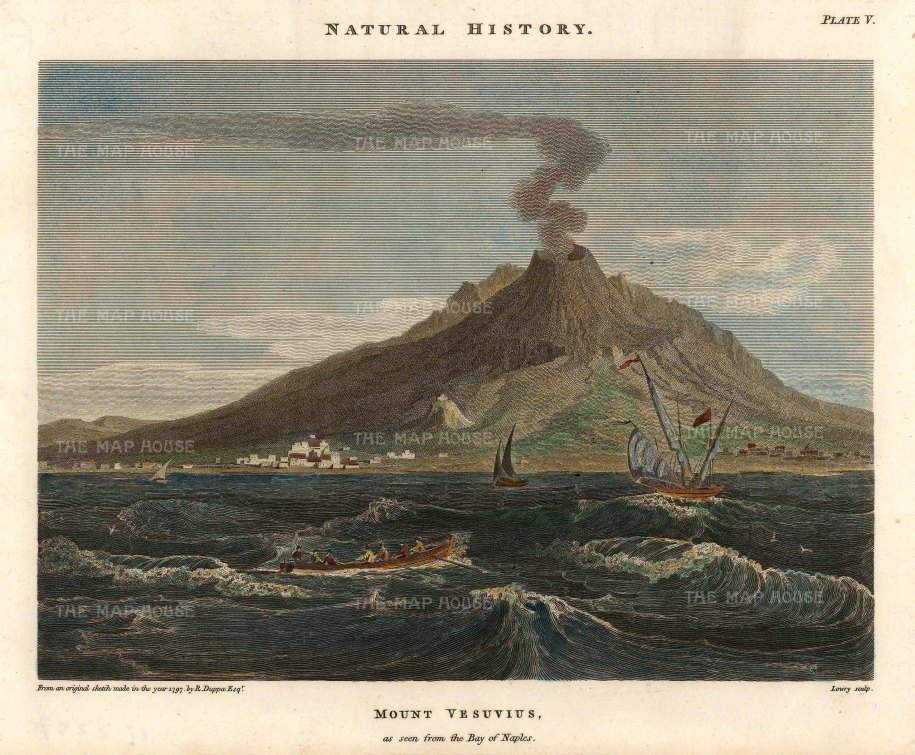 "Duppa: Mount Vesuvius, Naples. 1797. A hand coloured original antique copper engraving. 9"" x 7"". [ITp2237]"