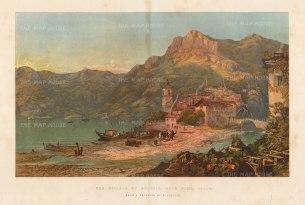 "Illustrated London News: Lake Como. 1863. An original antique chromolithograph. 18"" x 15"". [ITp2238]"