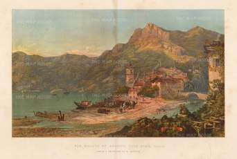 "Illustrated London News: Lake Como. 1863. An original antique chromolithograph. 18"" x 15"". [ITp2238]"