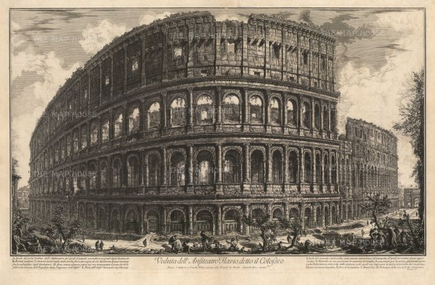 The Colosseum: View of the exterior of the world's largest ampitheatre by one of the 18th century's greatest printmakers. With detailed key. 1st edition, Rome. Hind 57.