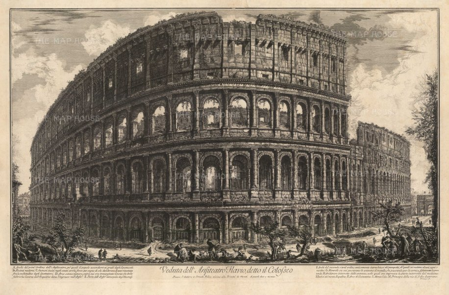 The Colosseum: View of the exterior of the world's largest amphitheater by one of the 18th century's greatest print makers. With detailed key. 1st edition, Rome. Hind 57.