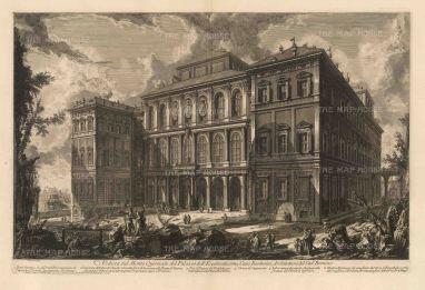 Piranessi: Palazzo Barberini, Rome, 1749. Antique original etching. 28 x 18 inches. [ITp2254]