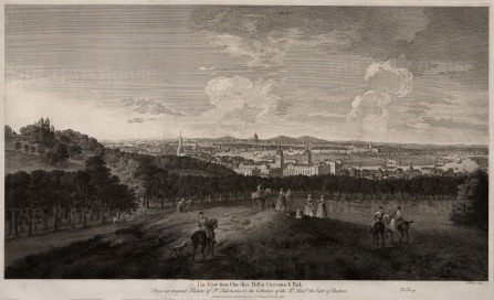 "Boydell: London from Greenwich Park. 1774. An original antique copper engraving. 28"" x 19"". [LDNp7726]"
