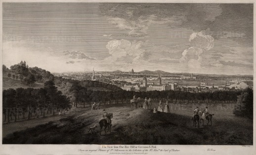 "Boydell: London from Greenwich Park. 1774. An original black and white antique copper engraving. Framed. 19"" x 28"". [LDNp7226]"