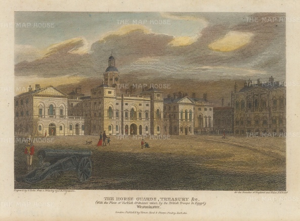 "Vernor: Horse Guards and the Treasury. 1814. A hand coloured original antique steel engraving. 7"" x 5"". [LDNp10068]"
