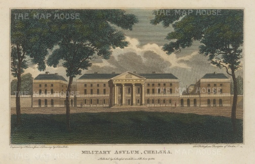 "Stratford: Royal Hospital Chelsea. 1808. A hand coloured original antique copper engraving. 5"" x 4"". [LDNp10143]"