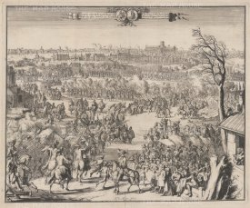 Reception of HRH the Prince of Orange on entering London. De Hooghe used the sketches of his draughtsman Hekhuisan as the raw material for this view of a triumphant William III arriving in London with a pre-Great Fire of 1666 skyline.