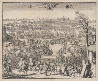 Reception of HRH the Prince of Orange on entering London. De Hoohge, used the sketches of his draughtsman Hekhuisan as the raw material for this view of a triumphant William III arriving in London with a pre Great Fire of 1666 skyline.