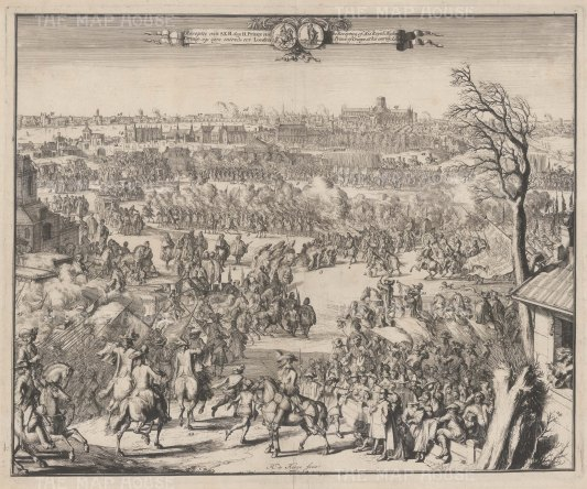 Reception of HRH the Prince of Orange on entering London. De Hoohge used the sketches of his draughtsman Hekhuisan as the raw material for this view of a triumphant William III arriving in London with a pre-Great Fire skyline.