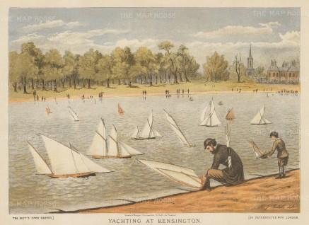 "Boy's Own: Yachting at Kensington. 1890. An original antique chromolithograph. 10"" x 8"". [LDNp10215]"