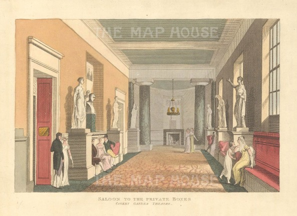 "Papworth: Covent Garden Theatre.1816. An original colour antique aquatint. 8"" x 6"". [LDNp10276]"
