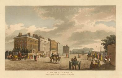 "Papworth: Piccadilly. 1816. An original colour antique aquatint. 8"" x 6"". [LDNp10281]"