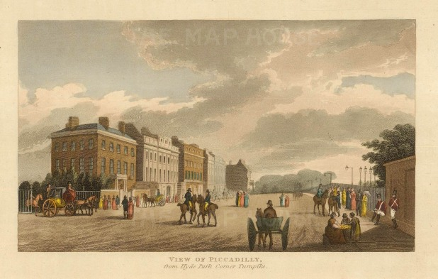 Piccadilly:View of the thoroughfare from Hyde Park Corner Turnpike.