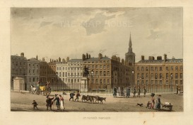"Papworth: St. James's Square. 1816. An original colour antique aquatint. 8"" x 6"". [LDNp10283]"