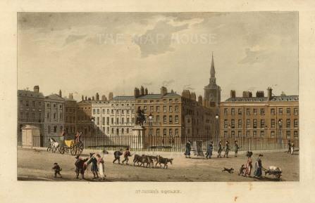 """Papworth: St. James's Square. 1816. An original colour antique aquatint. 8"""" x 6"""". [LDNp10283]"""
