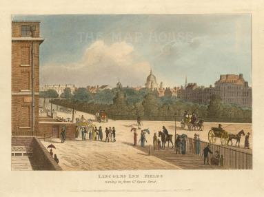 """Papworth. Lincolns Inn Fields. 1816. An original colour antique aquatint. 6"""" x 8"""". [LDNp10284]"""