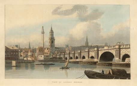 "Papworth: London Bridge. An original colour antique aquatint. 8"" x 6"". [LDNp10285]"