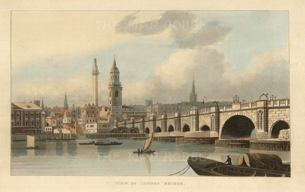 "Papworth: London Bridge. 1816. An original colour antique aquatint. 8"" x 6"". [LDNp10285]"