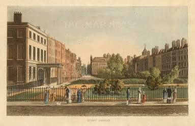 "Papworth. Queen Square. 1816. An original colour antique aquatint. 6"" x 8"". [LDNp10287]"