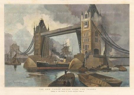 "Illustrated London News: Tower Bridge. 1894. A handcoloured original antique photolithograph. 20"" x 14"". [LDNp10292]"
