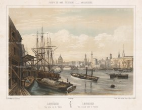 "Turgis: Thames view towards London Bridge. c1850. An original colour antique lithograph. 20"" x 16"".[LDNp10294]"