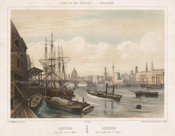 """Turgis: Thames view towards London Bridge. c1850. An original colour antique lithograph. 20"""" x 16"""".[LDNp10294]"""