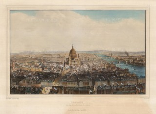 "Allom:Bird's-eye View from St. Bride's Steeple. 1846. A hand-coloured original antique lithograph. 18"" x 24"". [LDNp10308]"